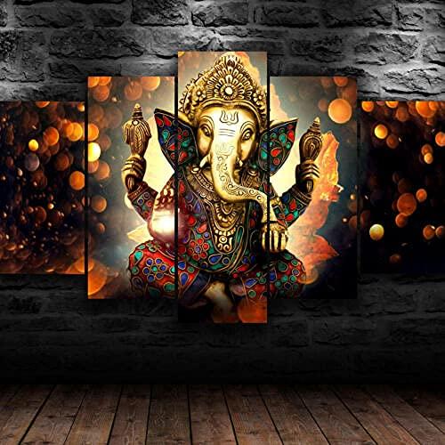 IJNHY 5 Piezas Pintura sobre Lienzo Moderna Señor Ganesha Bhagwan Shiva Impresión del Hogar Sala Estar Dormitorio Cuadro sobre Lienzo Listo para Colgar 150 * 80Cm con Marco