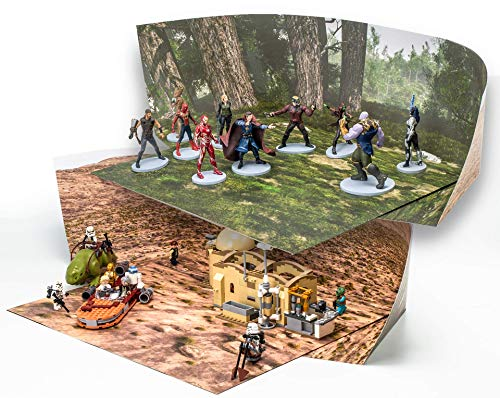 Pine Forest / Desert Backdrop Compatible with LEGO Action Figures Play; Double-sided Dioramas: Twice The Value For The Money; Great For Engaging Imagination, Make Stop-motion Movies; SINGLE Pack