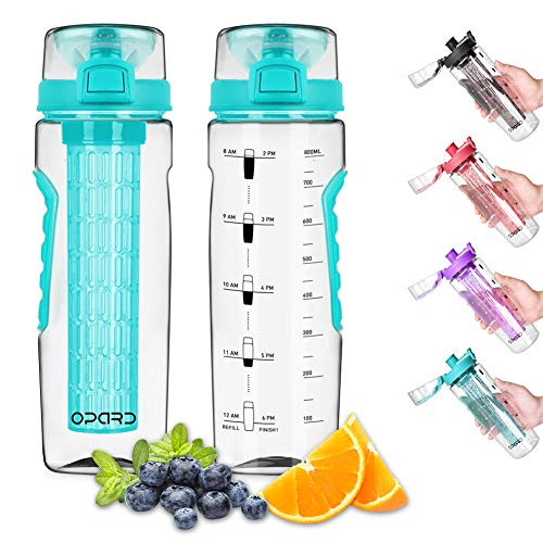 Opard Fruit Infuser Water Bottle with Folded Carry Handle Time Marker, 30 oz BPA Free Infuser Water Bottles, Leak-Proof Flip Top Lid, Full Length Infusion Rod, Anti-Slip Grips(Cyan)