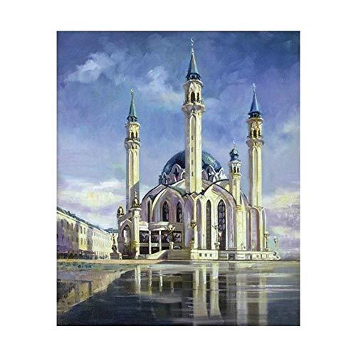 KYYBAX 5D diy pintura diamante,Bricolaje Diamond Painting Edificios religiosos espectaculares decoración de la pared del hogar 30 * 40cm