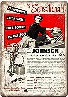 ジョンソンシーホース25船外モーターヴィンテージレトロティンメタルサインバー、研究、リビングルーム、ダイニングルーム、ベッドルーム、カフェ