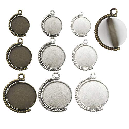 Oyifan 25 Pcs Moon Rotation Double Side Round Blank Bezel Pendant Trays with 50 Pcs Glass Dome Tiles Cabochon Settings Trays Pendant Blanks for Jewelry Making Findings