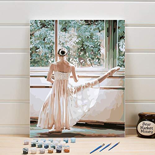 YJJPP Pintura por número Kits de Pintura de Lona Paquete de Bailarina Dibujo Artes Pintura acrílica Imagen para Colorear Un Conjunto para Adultos Mujer 40x50cm Enmarcado