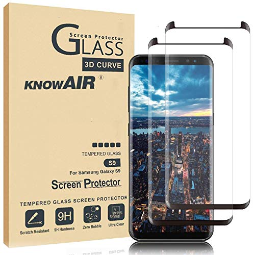 KNOWAIR Galaxy S9 Screen Protector,Full Coverage Tempered Glass[2 Pack][3D Curved] [Anti-Scratch][High Definition] Tempered Glass Screen Protector Suitable for Galaxy S9 (NOT S9 Plus)