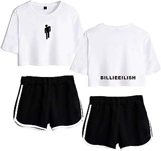 Flyself Billie Eilish New Album Two Pieces Set Casual Crop Top + Short Sets Running Tracksuit Sportswear Pajamas Yoga Suit...