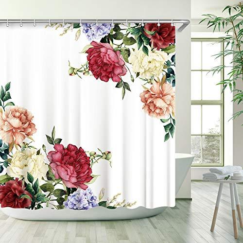 LIVILAN Cherry Blossom Duschvorhang-Set mit 12 Haken 70.8