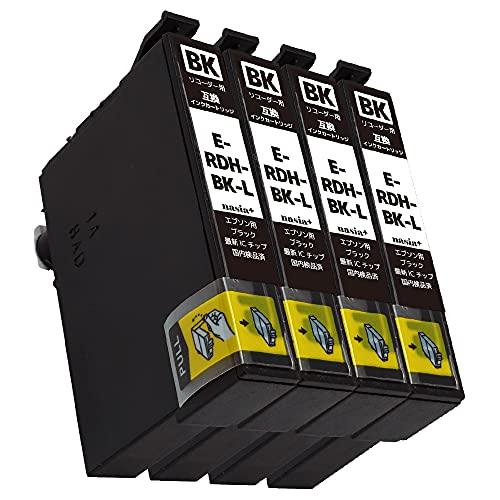 エプソン用 RDH-BK-L 【ブラック大容量/4本セット】 リコーダー 互換 インクカートリッジ 純正と併用可 [安心国内1年保証/QR(Web)説明書] RDH-BK RDHBK RDHBKL [対応機種: PX-049A / PX-048A ] 【nasia+製/Hyper互換】