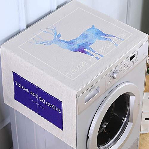 Cubierta de polvo para frigorífico, cubierta superior de lino y algodón, multiusos con bolsillos laterales de almacenamiento, se adapta a la mayoría de lavadoras de frigorífico, 65 x 170 cm