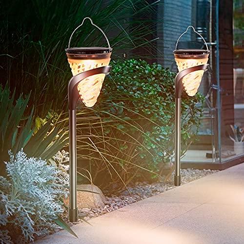Kanpans Luces solares para jardín al aire libre, 2 piezas de luces solares para carreteras, luces LED para jardín a prueba de agua, decoración de luces solares para exteriores, adecuado para...