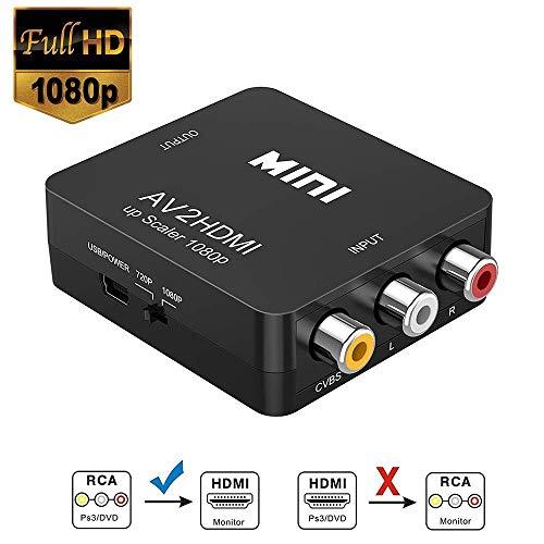 RCA a HDMI, Neefeaer 1080P Mini RCA Composite CVBS AV a HDMI Video Audio Converter para soportar PAL/NTSC con Cable de Carga USB para PC Laptop Xbox PS4 TV VHS VCR DVD Cámara Proyector