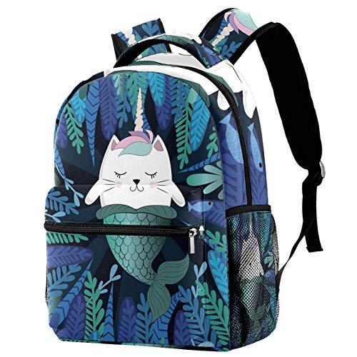 Fun Cat Unicorn and Mermaid Laptop Backpack School Bag for Boys Girls Casual Bookbags Canvas Rucksack
