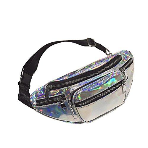 OULII Hologramm Laser Hüfttasche Reißverschluss um Pu Handytasche Cross-Body Satchel Mode Gürteltasche für Frauen Mädchen (Silber)