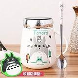 Tasse Mug Cadeau Céramique Dessin Animé Totoro Tasse À Café Dessin Animé Thé Lait Copo Avec Couvercle Grande Capacité Tasse Verres Avec Cuillère 400 Ml, Voir Tableau