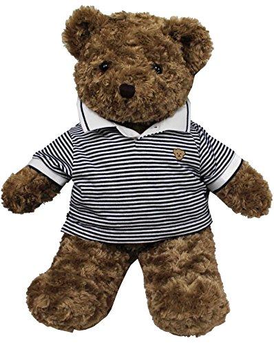 TEDDY HOUSE Orsacchiotto Toby in marrone con polo (35 cm 14'), orso Toby con Polo Marine bianco)