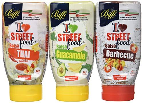 Biffi - Mix di 3 Salse Street Food: Salsa Guacamole Street Food 280 gr; Salsa Thai Street Food 300 gr; Salsa Barbecue Street Food 270 gr.