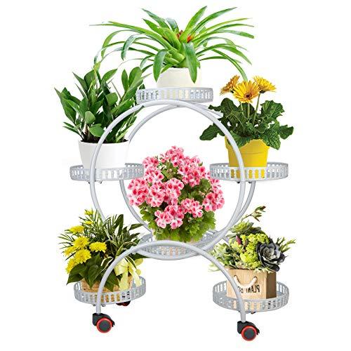 Fittoway Blumentreppe Metall 4 Ebenen Blumenständer Pflanzenregal Blumenregal mit Rädern für innen und außen Garten Balkon (Weiß)