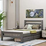 Twin Bed Frame with Drawers, Kids Platform Twin Bed with Storage, Solid Wood, No Box Spring Needed (Twin,Grey)