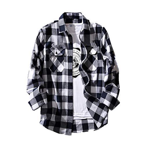 N\P Camisa de manga larga para hombre, color blanco y negro