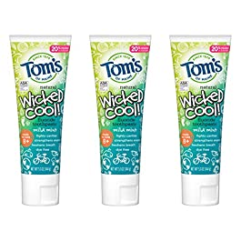 Tom's of Maine Natural Fluoride Wicked Cool Children's Toothpaste, Natural Toothpaste, Kids Toothpaste, Mild Mint, 5.1 Ounce, Pack of 3