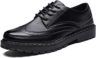 Xiang Ye Men's Fashion Oxford Everyday Easy Outsole Retro Wipe Ribbon Brogue Shoes (Color : Black, Size : 7 UK)