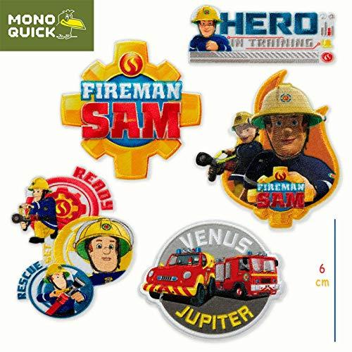 Mono-Quick 367 Fireman Sam Patches zum Aufbügeln, Aufkleben oder Aufnähen, Polyester, mehrfarbig, MD, 5
