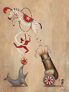 Oopsy daisy, Fine Art for Kids Vintage Circus Cannon Stretched Canvas Art by Sarah Lowe, 18 by 24-Inch