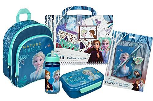 Scooli Frozen Rucksack Set 5-teilig für Mädchen Kindergarten I Kindergartenrucksack Set 5-TLG. Anna und ELSA mit Rucksack, Brotdose, Trinkflasche, Notizblock und Fashion Designer Malbuch