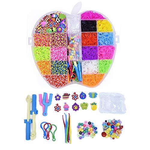 Minear Juego de 5000 bandas de goma de colores para hacer pulseras, pulseras de goma, regalo para niñas, para mejorar la imaginación