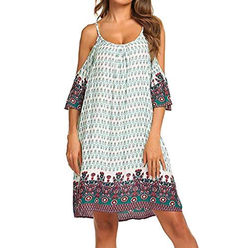 Vrouwen vintage bohemian printed jurk oversized off schouder plus grootte vrouw bloemen gedrukt lange losse korte mouwen avondparty prom jurk party jurk