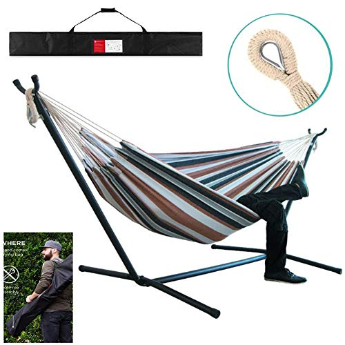 CTEGOOD Hammock Bed with Stand, Hamacas para Patio with Carrying Case Portable for Garden, Deck, Yard, Campsite Use, 200kg Capacity