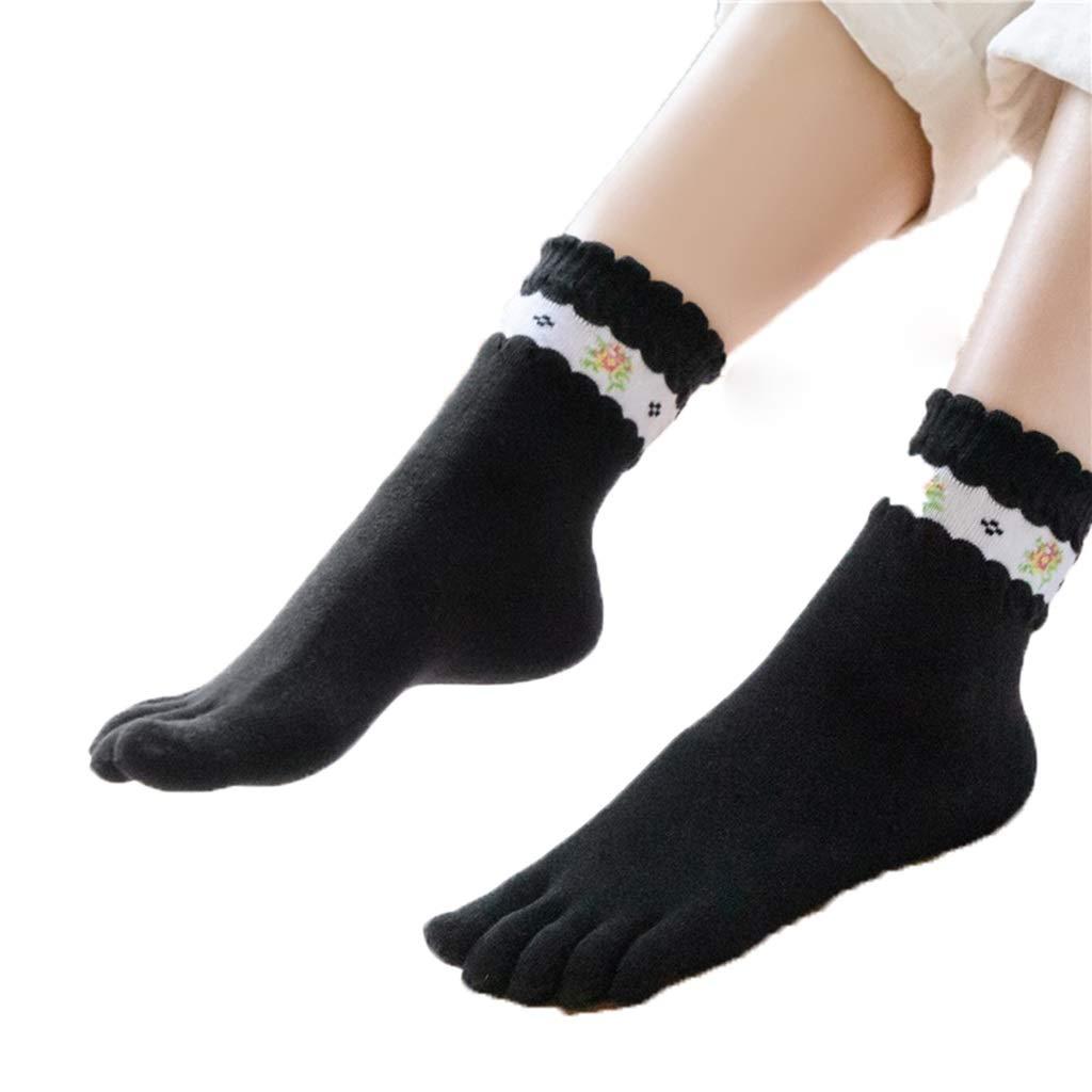 HYZ Mujer Tubo de Cinco Dedos Calcetines algodón de la Muchacha de Flor de Cinco Calcetines del Dedo del Dedo del pie Medias Patrón Calcetines de algodón Otoño Invierno pequeña Flor Paquete:
