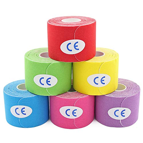 MUEUSS Precut Kinesiology Tape Elastic Hypoallergenic Sports Tape Waterproof Physio Tape for Pain Relief, Muscle & Joint Support (6rolls MixcolorA)