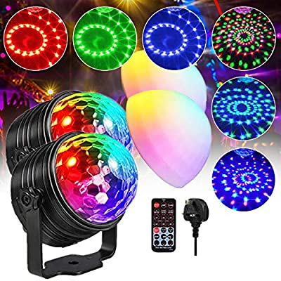 Disco Light, RGB LED Party Bulb with Mood Light Mode, DJ Sound Activated Strobe Lamp, Remote Control Crystal Ball Lights for Festival Birthday Party Bar Pub 2 Pack
