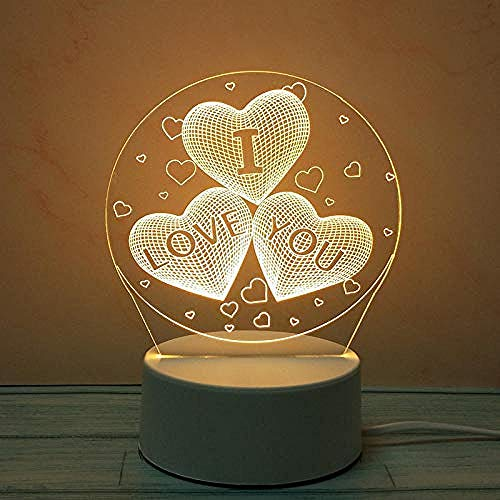 wangzj Night Lights Iluminación de la habitación Mini-Love Gift lamp Lámpara de mesita de noche Plug in Lámpara de mesilla 3D Lámpara de mesa Decoración de dormitorio