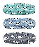 [3 PACK], JAVOedge Panda Big Heads Pattern Medium Size Hard Eyeglass Storage Case Fits Most Glasses w/Bonus Micro Cloth