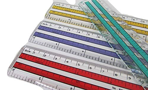 6 inch Rulers   15 cm Rulers   Transparent Plastic Ruler   Pack of 12 of Premium Quality Rulers   Yellow, Green, Red and Blue