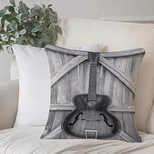Funda de almohada, funda de cojín Western, guitarra acústica vintage para instrumentos colgada en cercas de puertas de madera antiguas Decoración de hogar Funda de cojín Cuadrado acogedor para sofá Fu
