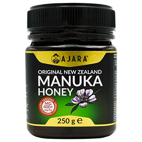 Miel de Manuka MGO 400+ Activo, Crudo, Puro y Natural al 100{c6983a32cee869a072bb0a8532cedc22fbcbf534a7a063416b145a58c1984f45} - Producto Certificado Metilglioxal en Nueva Zelanda - Terapéutico Antiviral y sana la piel - AJARA 250g