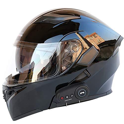 Casco Integral De Motocicleta Bluetooth, Casco Modular Moto,Sistema De Comunicación De Intercomunicación Integrado con Radio FM MP3 De Doble Lente,Certificación ECE C,XL(61~62CM)