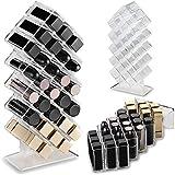 byAlegory - Support pour organisateur de maquillage en rouge à lèvres acrylique   28 espace de rangement cosmétique Beauty Conçu pour rester à plat et être empilé rechargeable