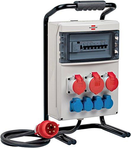 Brennenstuhl Tragbarer Stromverteiler BSV 4 (2 m Kabel, 1x CEE 400 V/32 A Stecker, 2x CEE 400 V/16 A, 4x 230 V/16 A Steckdosen, für ständigen Einsatz im Außenbereich, MADE IN GERMANY), Grau