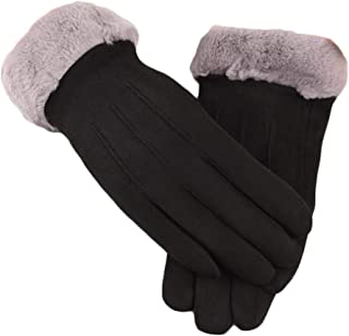 WUXiaodanDan Women's autumn and winter touch screen gloves plus velvet thick gloves warm gloves