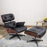 JOYBASE Recliner with Ottoman, Classic Lounge Chair, Genuine Leather Recliner, Wood Bending Plate (Black Leather & Walnut)