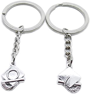 Metal Antique Silver Plated Keychains Keyrings Keytag YK113 Graduation Hat Cap Key Chain Ring