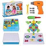 Creative Mosaic Drill Set for Kids, Drilling Toys Puzzle with Screwdriver Tool Playset, Preschool Building Blocks Toys for Boys and Girls, Toddler Electric Drill Toy Set