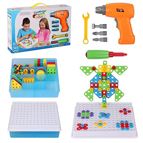 Creative Drilling Toy with Screwdriver Tool Playset STEM Toys, Electric Drill Puzzle for Kids, Mosaic Design Building Puzzles for Boys Girls 4 5 6 7 8 Year Olds