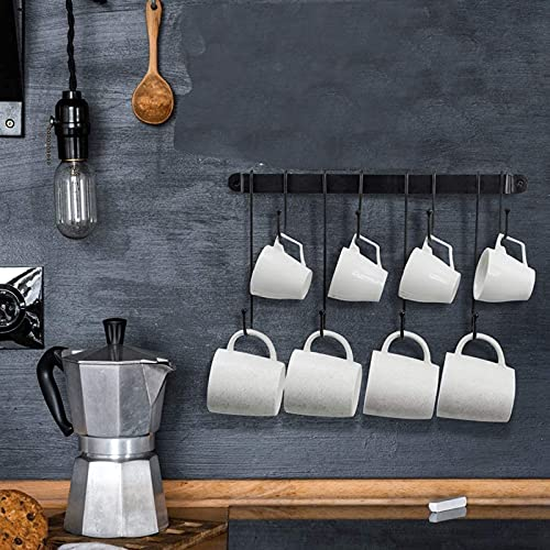 XKMY Portavasos de café, soporte para tazas de café montado en la pared con ganchos flexibles, para tazas, tazas de té, utensilios de cocina (40,6 cm) (color negro)