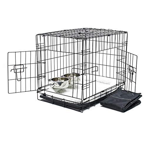 Wiltec Haustier Hundebox Transportbox Komplettset Hundekäfig Faltbar Transportkäfig XS 60x43x48.5cm Set