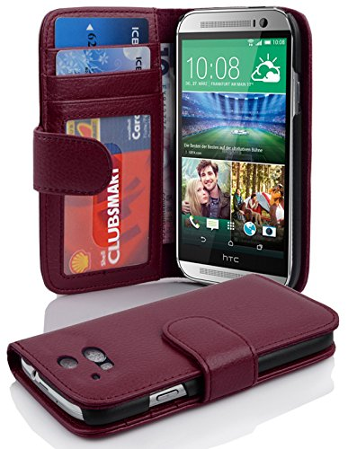 Cadorabo Funda Libro para HTC One M8 (2. Gen.) en Burdeos Violeta - Cubierta Proteccíon con Cierre Magnético e 3 Tarjeteros - Etui Case Cover Carcasa