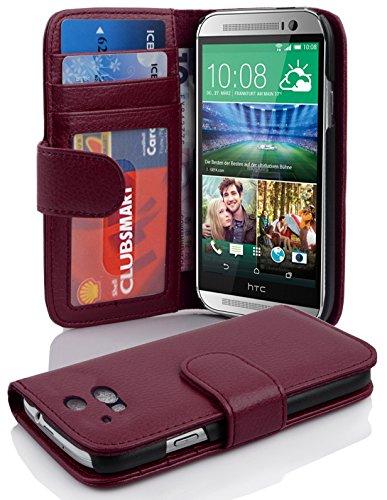 Cadorabo Hülle für HTC ONE M8 (2. Gen.) - Hülle in Bordeaux LILA – Handyhülle mit 3 Kartenfächern - Case Cover Schutzhülle Etui Tasche Book Klapp Style